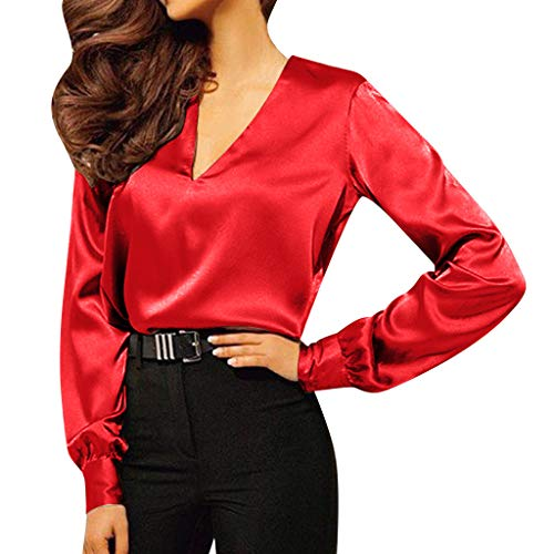 Womens Satin Blouses Ladies Shirt Casual V Neck Long Sleeve Elegant Top Pullover (Red, M)