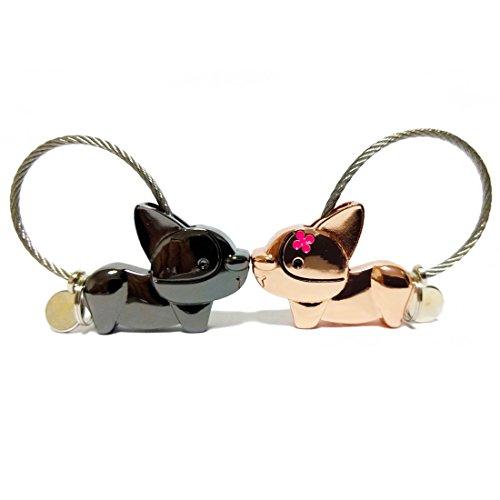 Oyachic 1 Par Lover Keyring,Kissing Dog Llavero para Pareja,Magnética Desmontable Auto Llaveros Aleación de Zinc para Amantes Mujer Hombre