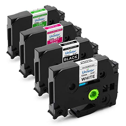 Unistar Compatible Label Tape Replacement for Brother P-Touch 12mm 0.47 Inch Colored Laminated, TZe231 TZe335 MQP35 MQG35(White/Black/Pink/Green) for Label Maker PTD210 PTD400 PTD600, 4 Pack