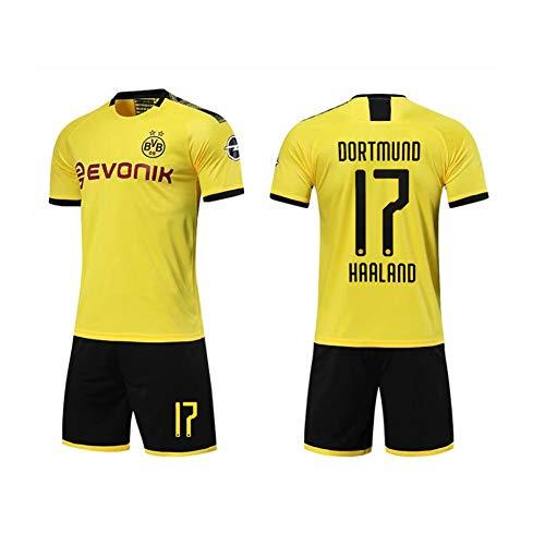 PAOFU-2019-2020 Borussia Dortmund Erling Braut Haaland # 17 Camiseta de Fútbol Conjuntos de Jersey de Fútbol de Fanáticos para Hombres y Niños,Amarillo,9 Years