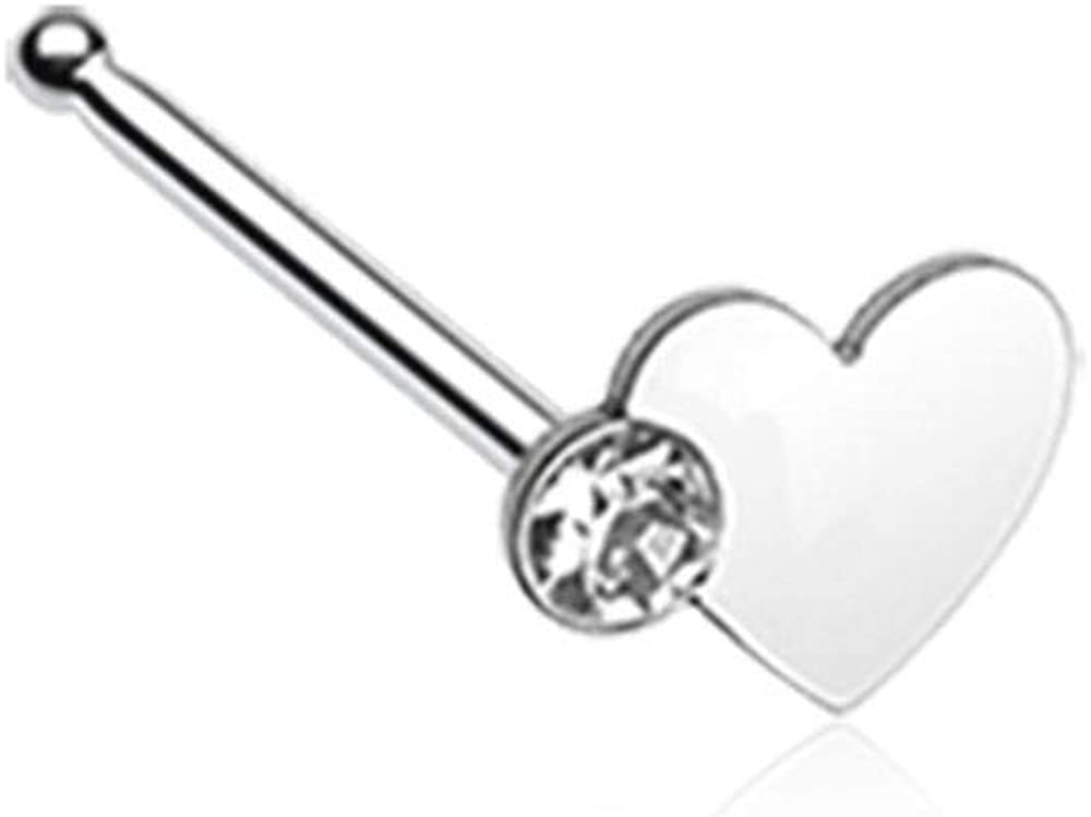 Covet Jewelry Adorable Heart Sparkle L-Shaped Nose Ring