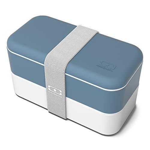 monbento - MB Original Azul Denim Fiambrera Lunch Box Made in France - Bento Box con 2 Compartimientos Herméticos - Fiambrera Trabajo/Escuela - sin BPA - Segura y Duradera