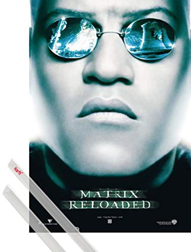 1art1 Matrix Poster (98x68 cm) Reloaded, Morpheus, Sonnenbrille Inklusive EIN Paar Posterleisten, Transparent