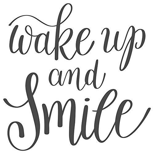 dekodino® Wandtattoo Spruch Motto Wake up and smile Wandsticker Deko