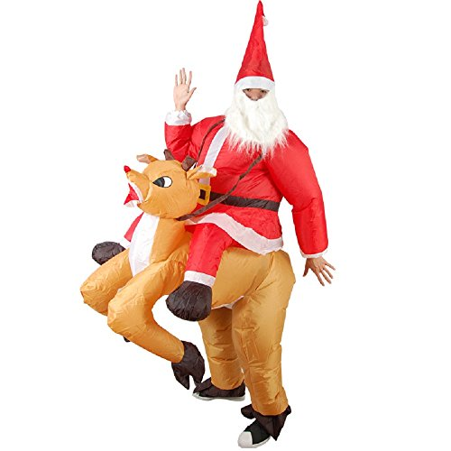 Adults Santa Riding Reindeer Inflatable Costume Suit Blow Up Inflatable H0M9