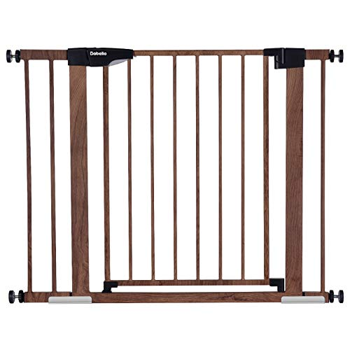 Babelio Metal Baby Gate with Wood Pattern, 29-40' Easy Install Pressure Mounted Dog Gate, No Drilling, No Tools Required, Ideal for Stairs and Doorways, with Wall Protectors and Extenders