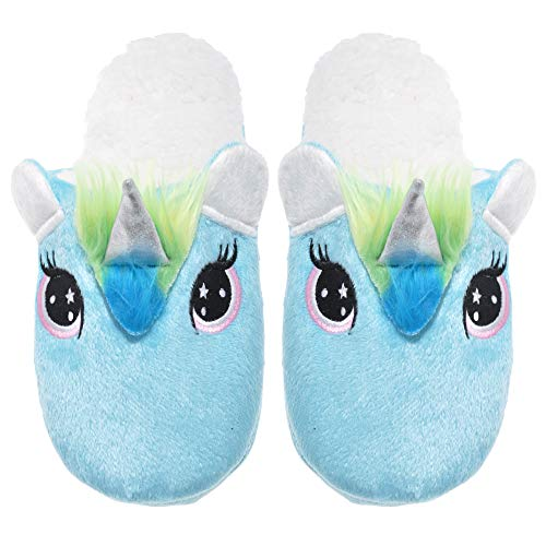 Angelina Womens Cozy Plush Unicorn Slippers with Sherpa-Lined Interior, WF1137_BLUE_S-M