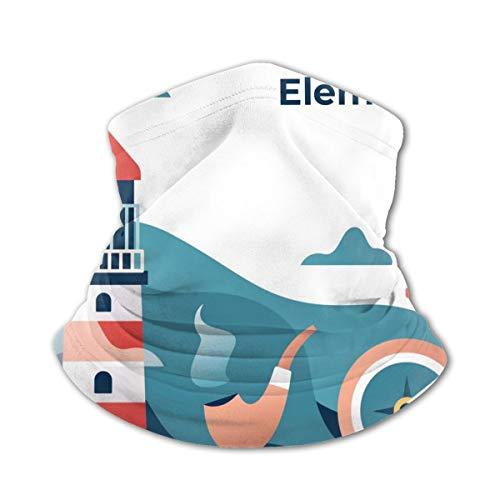 Akhy Multifunctional Headwear Boys Girl Face Mask Headband Neck Gaiter Nautical Lighthouse Elements Illustration Balaclava for Teens