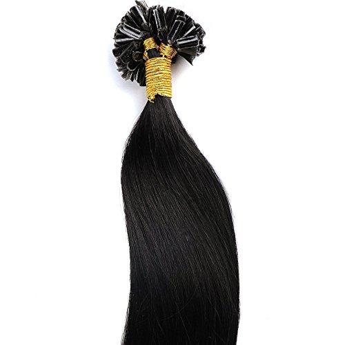 18'-22' Hair Extension Capelli Veri Cheratina 100% Remy Human Hair Pre Bonded U-tip Keratina Allungamento, 100 Ciocche - 45cm-50g, 1B# Nero Naturale