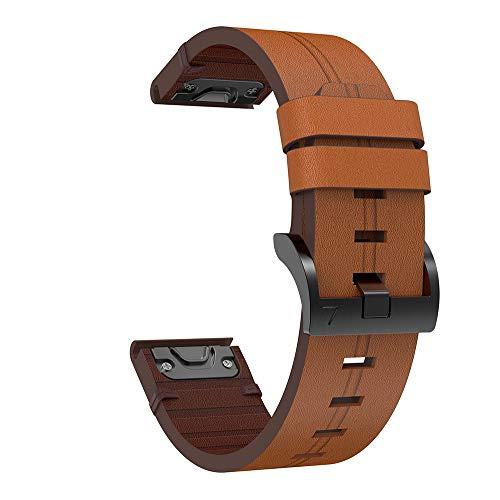 KOMI Correas de reloj inteligente de repuesto para Garmin Fenix 6X GPS, 6X Pro/Fenix 5X y 5X Plus, correa de piel de liberación rápida para deportes de fitness (marrón)