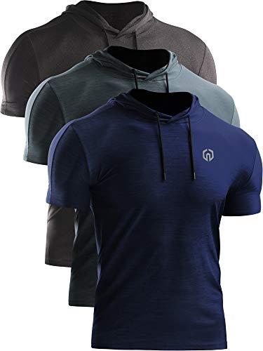 Neleus Men's 3 Pack Dry Fit Running Shirt Workout Athletic Shirt with Hoods,Grey Black,Slate Gray,Navy Blue,US L,EU XL