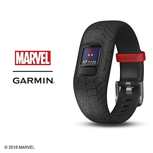 Garmin vívofit jr 2, Kids Fitness/Activity Tracker, Marvel Spider-Man, Black, 1-Year Battery Life