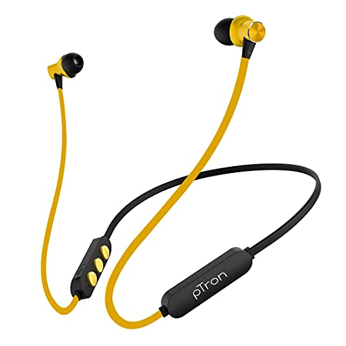 pTron Bassfest Plus Magnetic in-Ear Bluetooth 5.0 Wireless Headphones, Stereo Sound with Bass, IPX4 Water & Sweat Resistant, Voice Assistance, Ergonomic & Lightweight, Built-in Mic - (Black & Yellow)