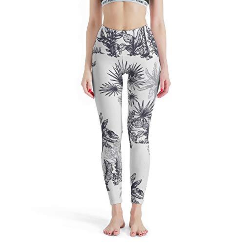 Leggings para mujer, diseño de planta tropical, estampado de flores, ideal para correr, color blanco