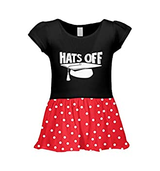 Hats Off - Graduation Cap & Gown Infant/Toddler Baby Rib Dress  Black/Red Polka Dot 5T/6T