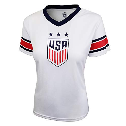 Icon Sports U.S. Soccer USWNT Women's Football Polymesh Tee (Primary White, Medium)