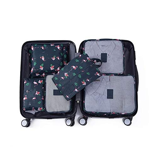 SSLHDDL Organizer Storage Bags Portable Luggage Organizer Clothes Tidy Pouch Suitcase Packing Set Storage (Color : Flamingo)