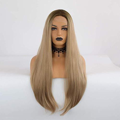 CHUTD pruik, Honing Blonde Kant Voor Pruiken Lange Natuurlijke Rechte Pruik Blond Realistische Synthetische Haar Vervanging Pruiken met Donkere Wortel voor Vrouwen