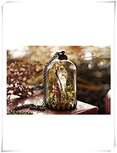 liu zhong fang Halskette mit Quarzkristall, Terrarium, Glocke, Moos, Terrarium, echte Pflanzenkette, klarer Quarz-Punkt