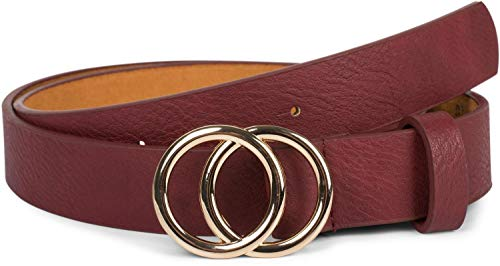 styleBREAKER Damen Gürtel Unifarben mit Ringschnalle, Hüftgürtel, Taillengürtel, Synthetikgürtel, Einfarbig 03010093, Größe:80cm, Farbe:Bordeaux-Rot-Gold