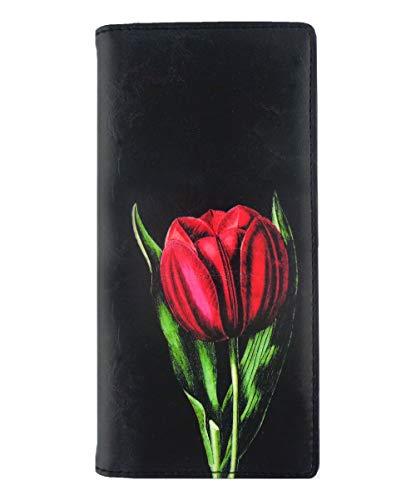 Lavishy Vintage Tulpen Blume Illustration Print vegan/Kunstleder Große Brieftasche