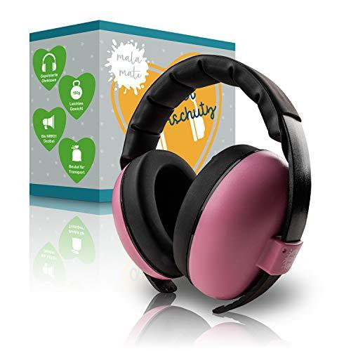 MALA MATI® Baby Gehörschutz - angenehm weiches Tragegefühl - [3-36] Monate - leicht [190g] - Lärmschutz für Babys mit gepolsterten Ohrenkissen - Baby Ohrenschützer Lärm bis NRR21 Dezibel (Rosa)