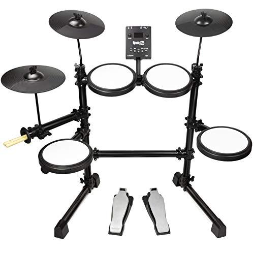RockJam Mesh Head-Set, acht Stück E-Drum-Kit mit Mesh Head, leicht zusammenzubauen und Rack-Drum-Modul mit 30 Kits, USB und Midi-Konnektivität