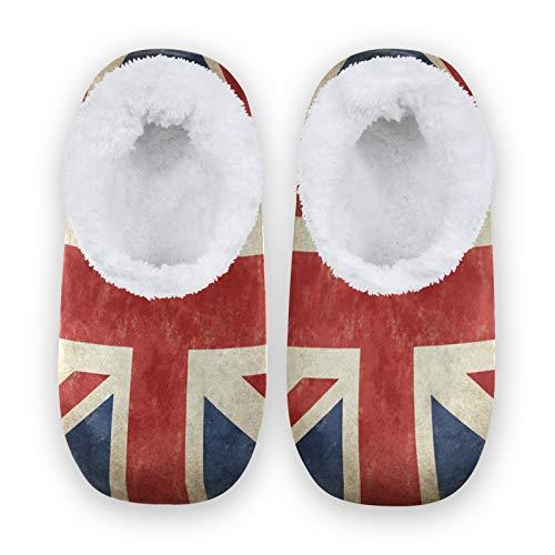 linomo Zapatillas vintage con la bandera del Reino Unido, Inglaterra, para mujer, para casa, para interiores, zapatos de casa, zapatos de dormitorio, calcetines, color, talla 40/41 EU