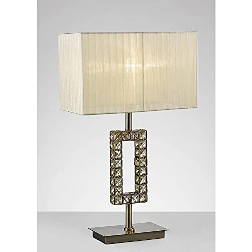 Inspired Diyas - Florence - Lámpara de mesa rectangular con pantalla crema 1 luz de latón antiguo, cristal