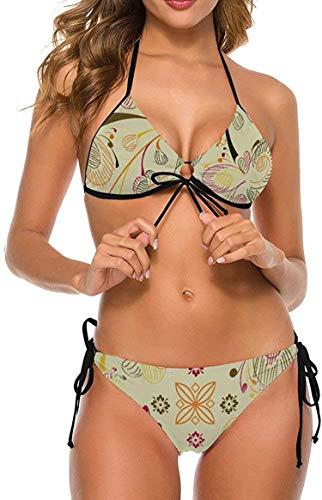my cat Damen Bikinis Set Krawatte Badeanzug Schmeichelhaftes Schwimmkostüm Blumenmuster Vintage Blumen Dreieck Bikini X-Large