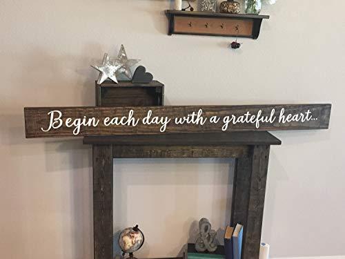 Gale66Lucy - Señal de madera con texto en inglés 'Begin Every Day With A Grateful Heart Sign de 5,5 x 60 cm, decoración del hogar, estilo rústico Shabby Chic, pintado a mano, número de artículo Pws0130025