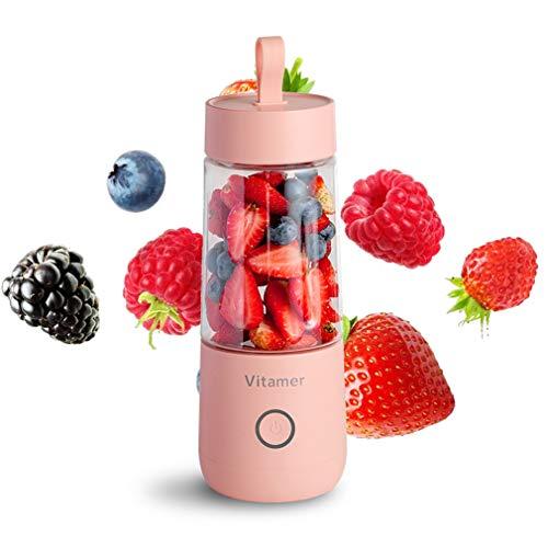 TIM-LI Licuadora Portátil Exprimidor Personal, USB Exprimidor Recargable Taza 350Ml Máquina Mezcladora De Frutas Sin BPA para Viajes/Oficina,Rosado