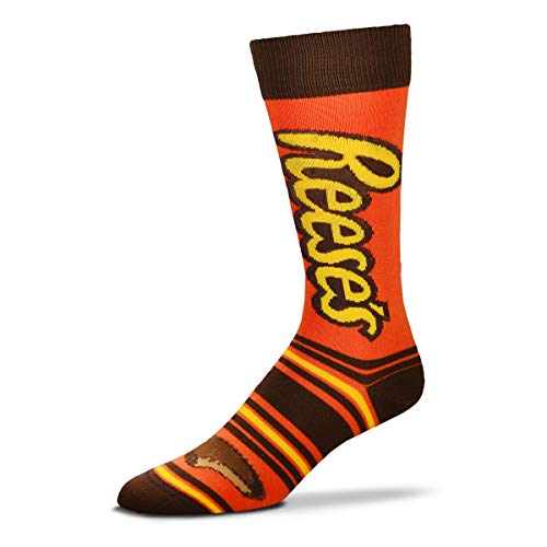 For Bare Feet Mens & Womens Fun Novelty Hershey's Candy -Stripealicious-Crew Socks-One Size Fits Most-Reese's-OSFM