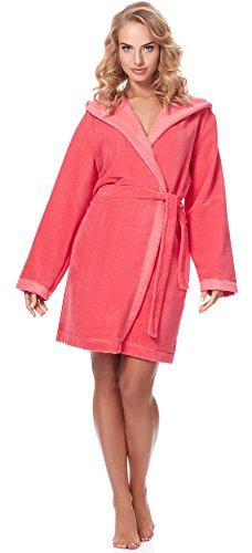 Merry Style Bata Corta con Capucha Vestidos de Casa Ropa Mujer MSLL1002 (Coral/Rosa Claro(2134), L)