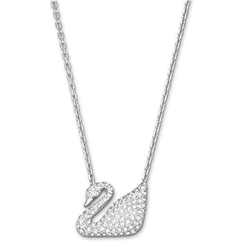 Swarovski Swan Halskette, Weiß, Rhodiniert