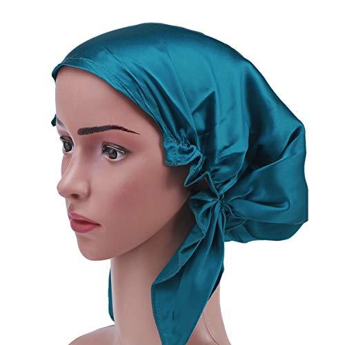 Frcolor Bonnet de nuit en soie Mulberry bonnet cheveux longs bonnet de nuit bonnet pour femmes filles (Bleu)