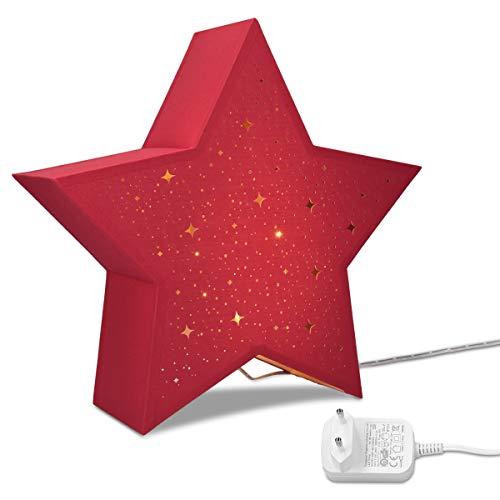 Navaris LED Leuchtstern mit Stromkabel - warmweiß - 31x33x10cm - Deko Sternlampe mit Schalter - ideal zu Weihnachten - Fensterdeko Beleuchtung Rot