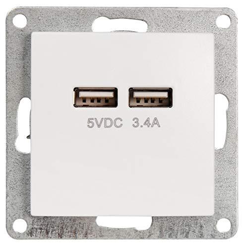 Unterputz USB-Ladedose 2-fach 5V 3,4A - Serie GLAS weiß