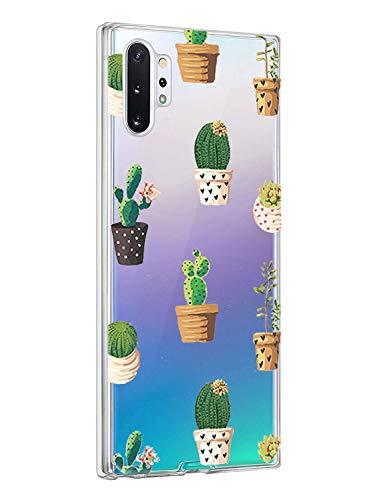 Oihxse ersatz für Galaxy Note 10 Hülle,Galaxy Note 10 Hülle Weiche Ultra Dünn Handyhülle Slim Silikon TPU Flex Transparent Gel Case Soft Clear Kratzfeste Stoßfest Premium Schutzhülle (Kaktus-1)