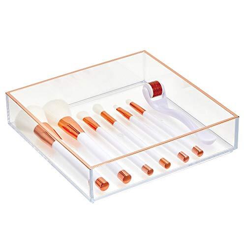 mDesign Cosmetics Organisator – Praktische opbergdoos voor cosmetica zoals lippenstift, nagellak en meer – Make-up opslag voor badkamer en slaapkamer – helder/roségoud