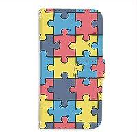 FFANY Y!mobile Android One S4 用 PU手帳型 カードタイプ スマホケース パズル柄・カラフル おもしろ ゲーム パロディ ワイモバイル アンドロイド SIMフリー スマホカバー 携帯ケース スタンド puzzle aao_190731c
