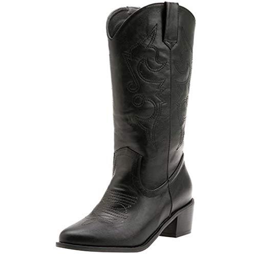Lydee Mujer Moda Western Boots Ankle High Block Heels Pull on Botas cortas Animal Print Black Talla 39