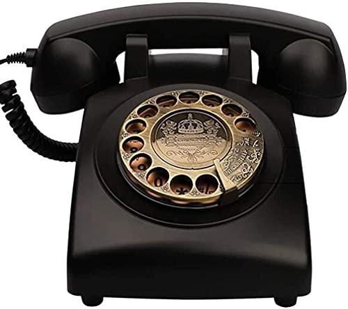ADSE Teléfono Retro clásico Dial Giratorio Estilo de la vejez Teléfono Fijo Retro con Campanas en Espiral y auténticas - Negro