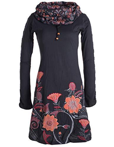 Vishes - Alternative Bekleidung - Damen Kleid mit Blumen-Muster Langarm Herbst Frühling Schalkragen schwarz 46