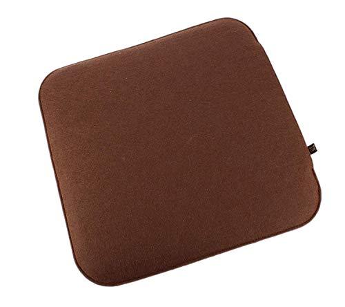 6er Set Filz Sitzkissen in braun und cremeweiß zum Wenden, waschbare Stuhlauflage mit Füllung inkl. Reissverschluss. Moderne Sitzauflage für Bank und Stuhl mit runden Ecken, weich gepolstert. Designer Sitzpolster / Filzauflage, quadratisch ca. 35x35cm groß