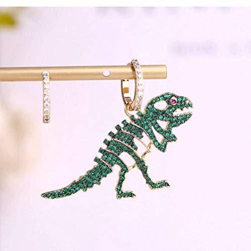 WOZUIMEI Pendientes de Oreja Aretes para Mujer Pendientes Asimétricos de Fósiles de Dinosaurio de Micro-Incrustaciones de Diamantes Huecos Pendientes Personalizados de Industria Pesadaverde