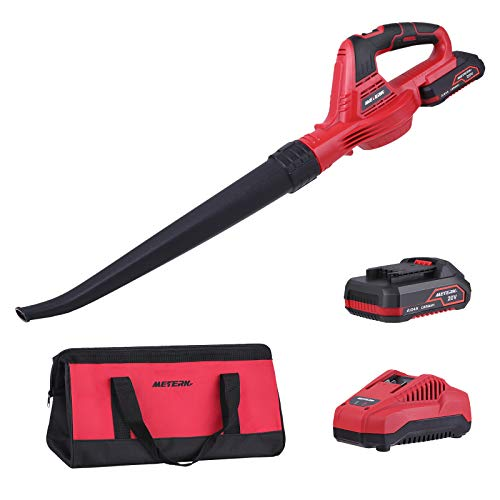 Meterk Electric Leaf Blower 20V Lithium Leaf Blower Cordless,2.0Ah Battery and Charger Included,Used for Sweeping Snow,Clearing Leaf & Dust, Outdoor & Indoor