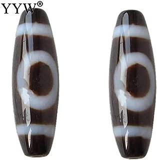 Calvas Tibetan Jewelry Natural Tibetan Agates Dzi Beads Oval Sun and Moon & Two Tone Grade AAA 13x39mm Beads for Jewelry Making DIY