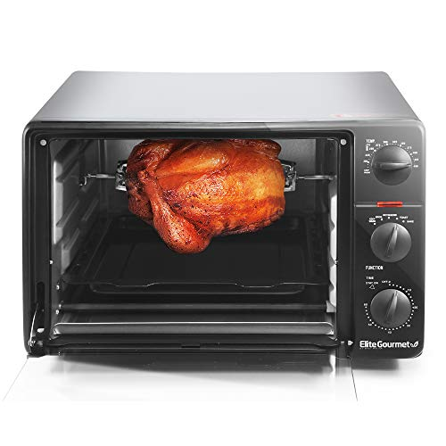 Elite Gourmet Rotisserie, Bake, Grill, Broil, Roast, Toast, Keep Warm and Steam, Rotisserie & Grill/Griddle, Stainless Steel