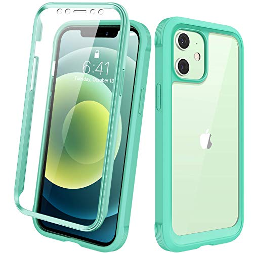 """Diaclara Designed for iPhone 12/12 Pro Case, Full Body Rugged Case with Built-in Touch Sensitive Anti-Scratch Screen Protector, Soft TPU Bumper Case for iPhone 12/12 Pro 6.1"""" (Green and Clear)"""